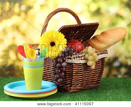 Picnic basket and tableware on grass on bright background