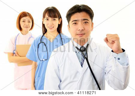 Smiling Asian medical doctors