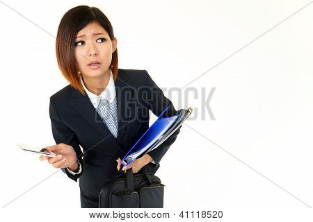 Business woman uneasy look