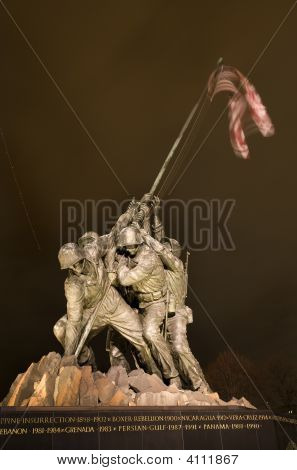 The Marine Corps War Iwo Jima Memorial Washington Dc With Plane Trail
