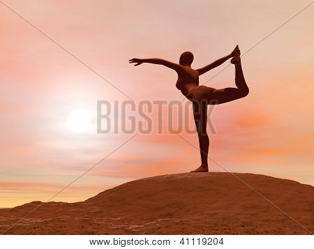 Dancer Pose, Natarajasana - 3D Render