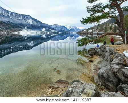 Alpine Winter Lake View And Family