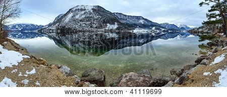 Alpine Winter Lake Panorama.