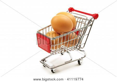 eggs in a shopping trolley