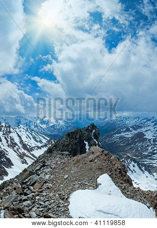 Mountain View With Alp Flowers  Over Precipice And Clouds