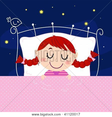 Cute Little Dreaming Girl In Bed With Sky In The Background