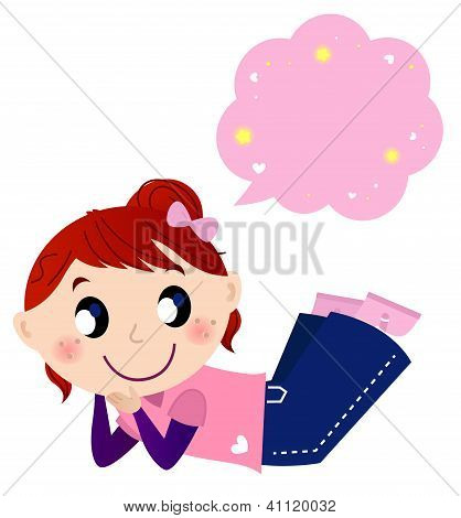 Cute Dreaming Girl With Speech Bubble Isolated On White