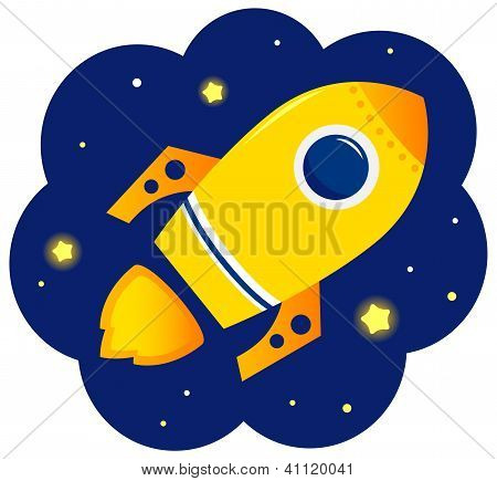 Cartoon Stylized Rocket In Space With Stars