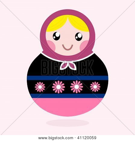 Traditional Russia Doll, Matrioshka - Pink And Black