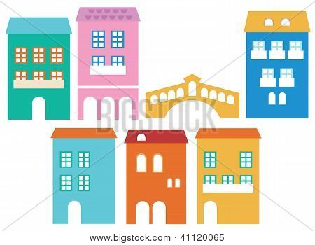 Venetian Colorful Houses Isolated On White