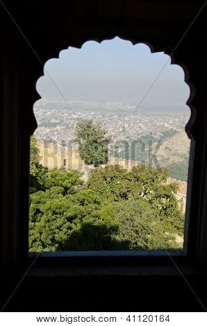Wiew To Jaipur City From Nahargarh Fort Window