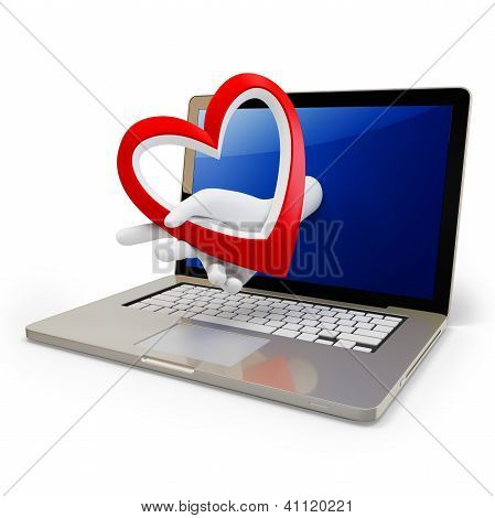 3D Hand With A Heart And Laptop