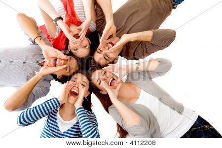 Group Of Friends Shouting