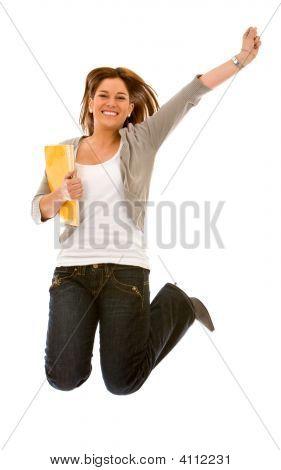 University Student Jumping
