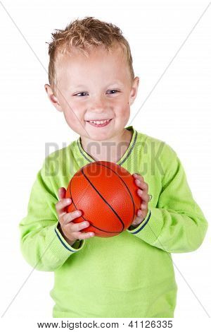 Young Boy Holding Basketball - Isolated