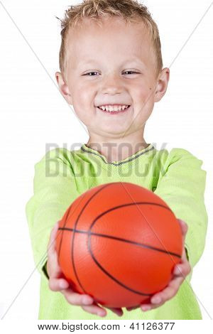 Happy Boy Showing Basketball - Isolated