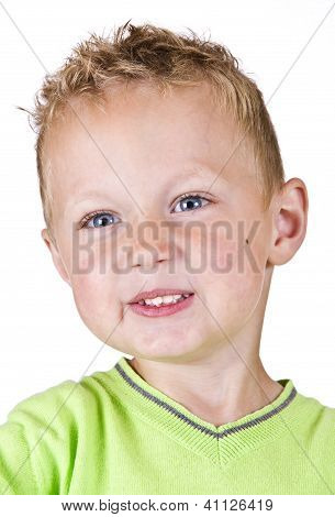 Portrait Of Young - Shy Boy Isolated