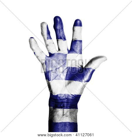 Hand Of An Old Woman, Wrapped With A Pattern Of The Flag Of Greece