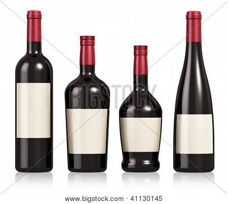 Conjunto de garrafas de vinho e conhaque