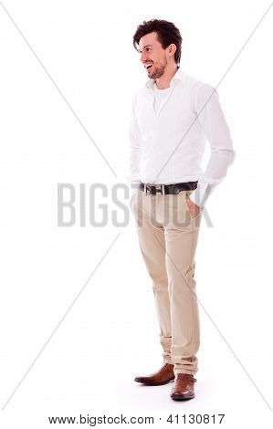 Successful Yound Adult Man Casual Isolated