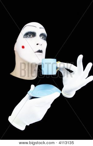 Portrait Of The Mime With A Blue Cup