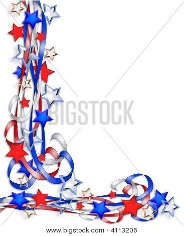 Patriotic Border Stars And Stripes Ribbons