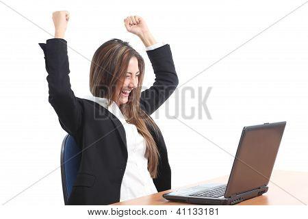 Euphoric Business Woman Watching A Laptop
