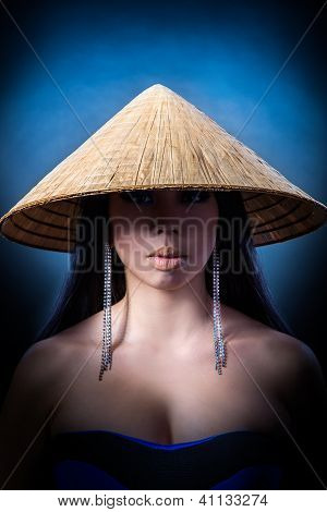 Beautiful Brunette Asian Woman With Long Black Hair Wears Vietnam Hat