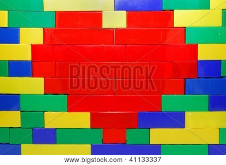 Plastic Brick Heart On The Wall