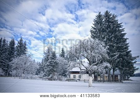 Austrian Farmhouse in Winter