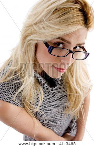 High Angle View Of Woman Wearing Spectacles Looking At Camera