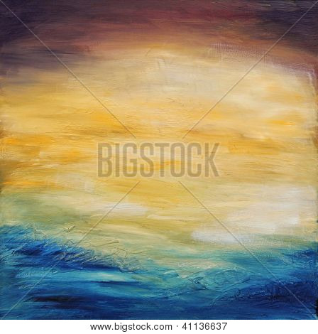 Beautiful abstract textured background of  evening sunset sky over the ocean. Original oil painting on canvas.