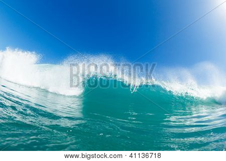 Blue Ocean Wave and Sunny Blue Sky