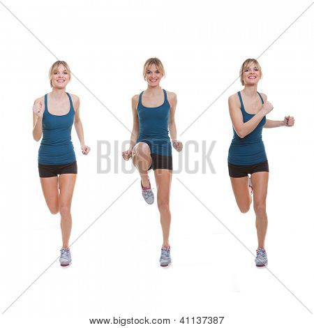 Fit woman exercising, running, jogging or doing or aerobics.