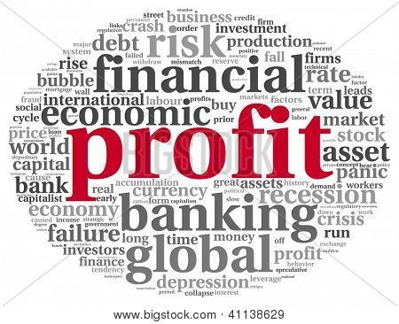 Profit and financial risk concept in word tag cloud on white background
