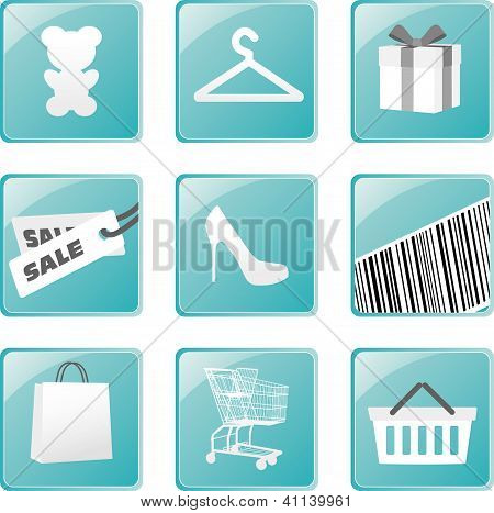 Shopping icons set. Vector design