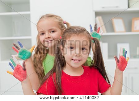 Girls With Colored Hands