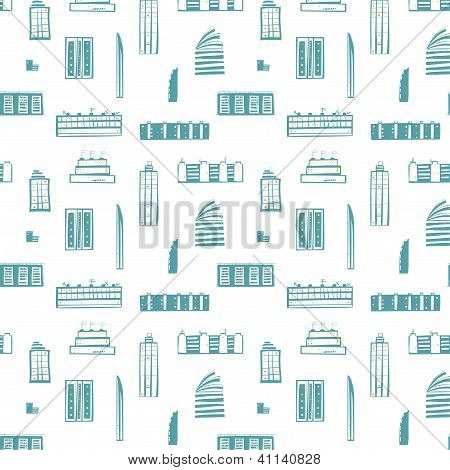 City Buildings Seamless Pattern