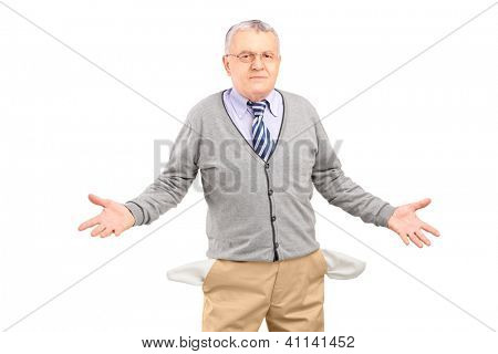 Poor man showing his empty pockets, isolated on white background