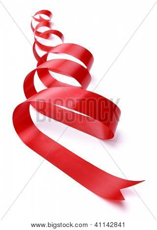 Red ribbon gift decoration isolated on white
