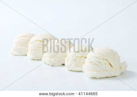 five white single ice cream scoop on the white background