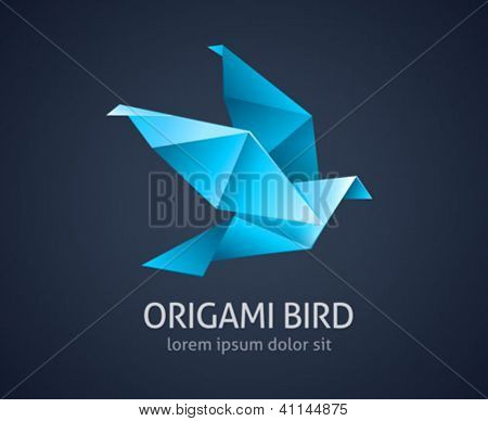 origami bird abstract icon - vector illustration