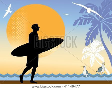 Man with surfboard