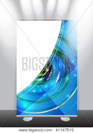 A roll-up display with stand banner template design, vector illustration.