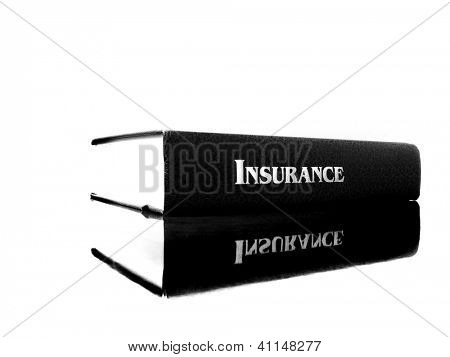 Old leather book on the topic of insurance for health care concerns in America