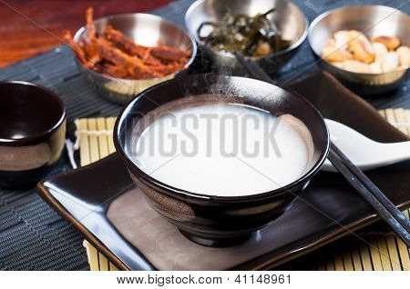 congee with dried beef, peanuts, preserve turnips and sea weeds
