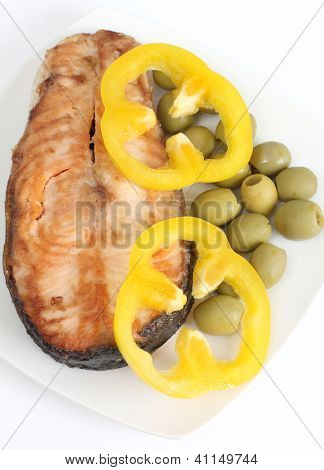 Color photograph of fish meal on plate