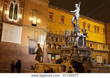Fountain Of Neptune With Shade On Sala Borsa Wall In Bologna