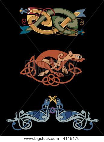 Celtic Beasts - Snakes, Lioness, Birds