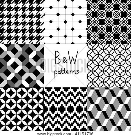 Black and white seamless patterns collection, vector